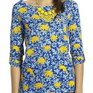 Postmark Anthropologie Yellow Racoon Floral Shirt